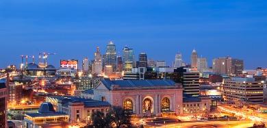 Downtown Kansas city at night from the Liberty Memorial